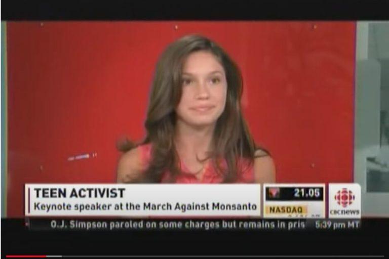 YouTube-Screenshot: Rachel Parent debattiert in einer TV-Show: Gegen Monsanto!