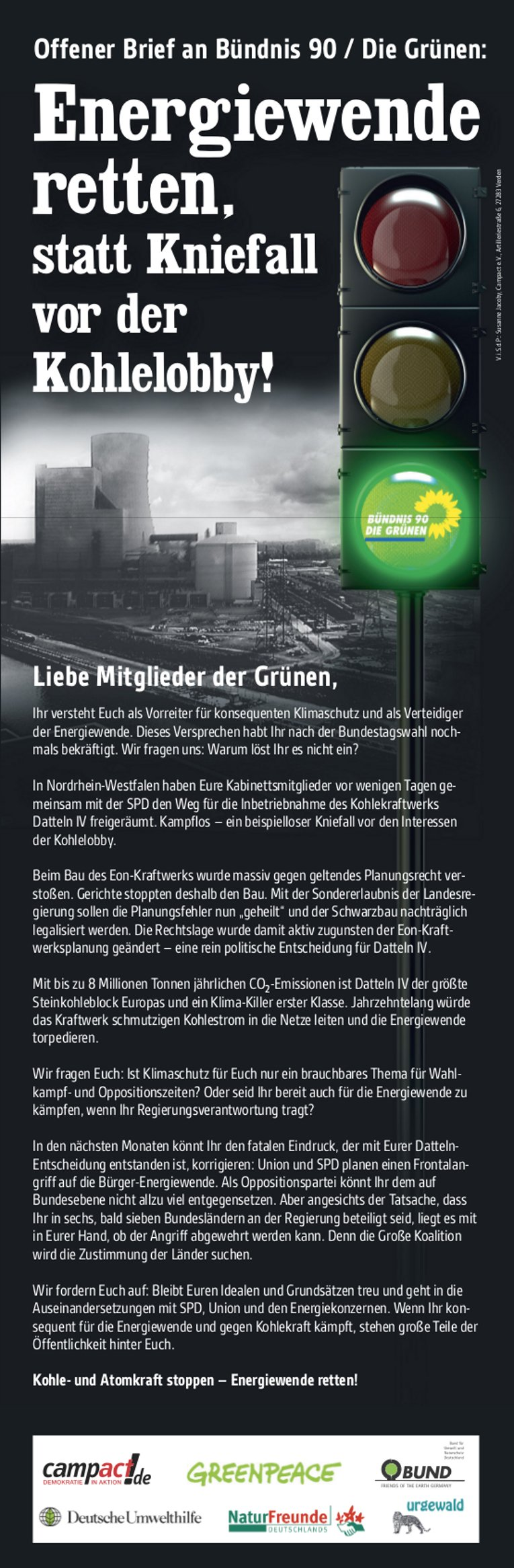 Anzeige taz Datteln Grüne, Ill.: Campact