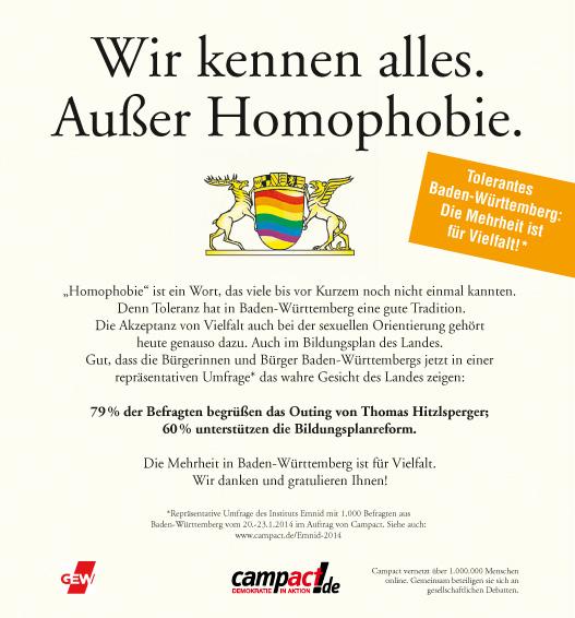 Anzeige zu Emnid-Umfrage Toleranz Homosexualität im Bildungsplan Baden-Württemberg