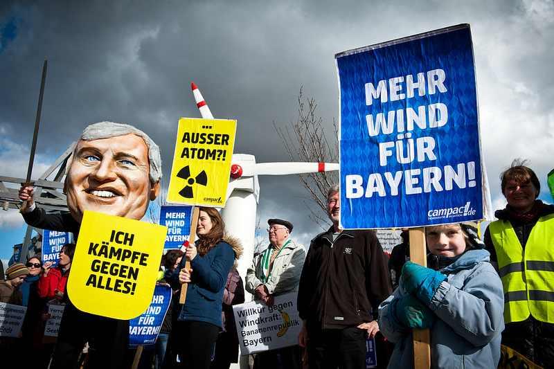 Protest der Windbefürworter in Rottendorf, Foto: Campact