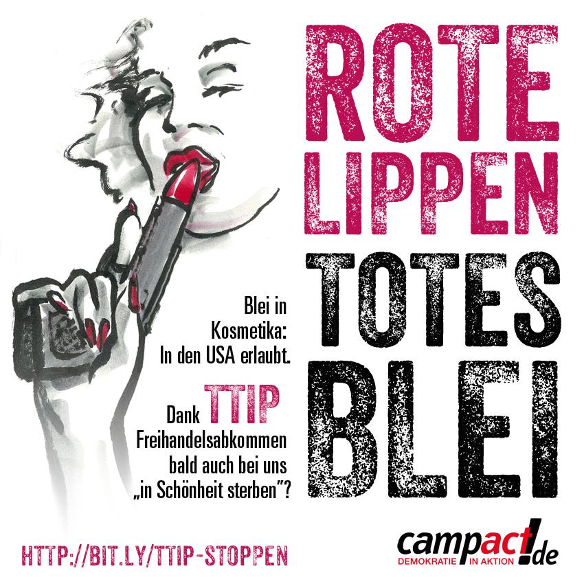in Schönheit sterben mit TTIP? Karikatur von Martin Keune/Campact