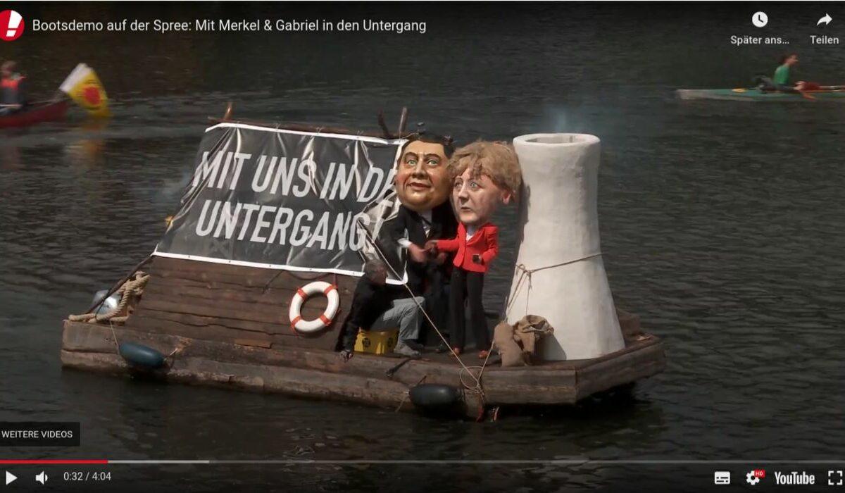Screenshot Youtube: Campact - Bootsdemo für die Energiewende. Gegen die Politik von SIegmar Gabriel und Merkel.