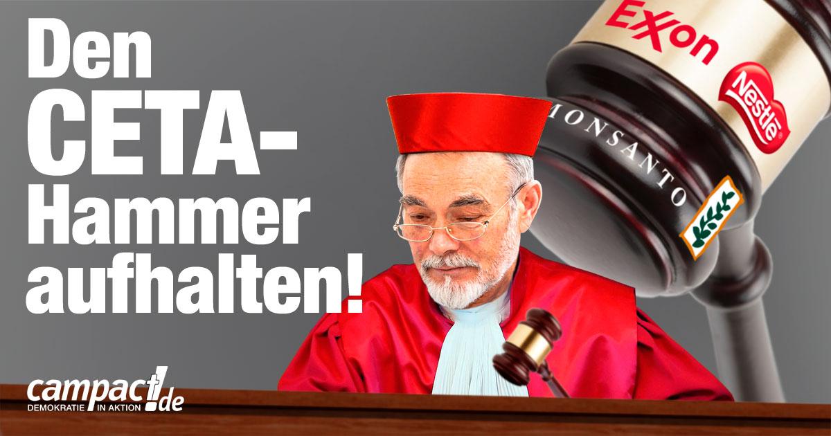 Appell für CETA-Stopp: Den CETA-Hammer aufhalten!