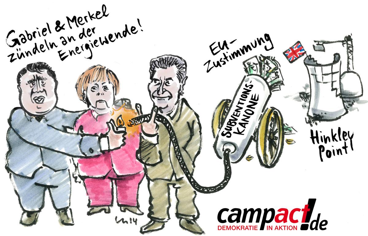 Merkel und Gabriel zündeln mit Öttinger am Atomausstieg