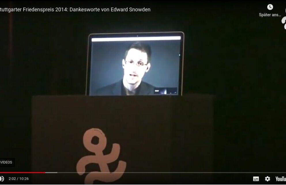 Dankesworte von Edward Snowden zum Stuttgarter Friedenspreis 2014