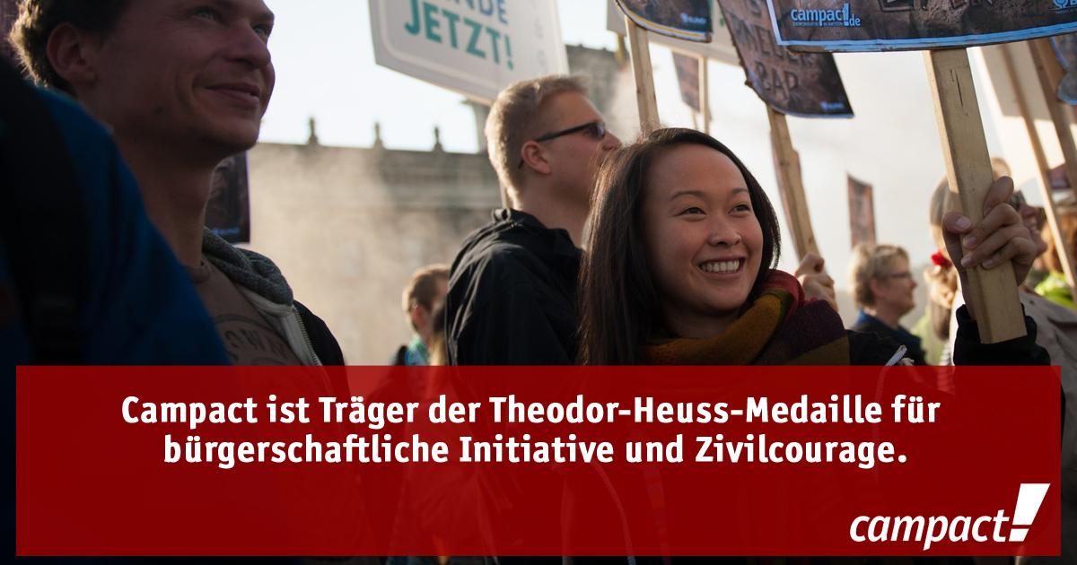 Fakten über Campact: Träger der Theodor-Heuss-Medaille. Grafik: Campact/Volker Schartner