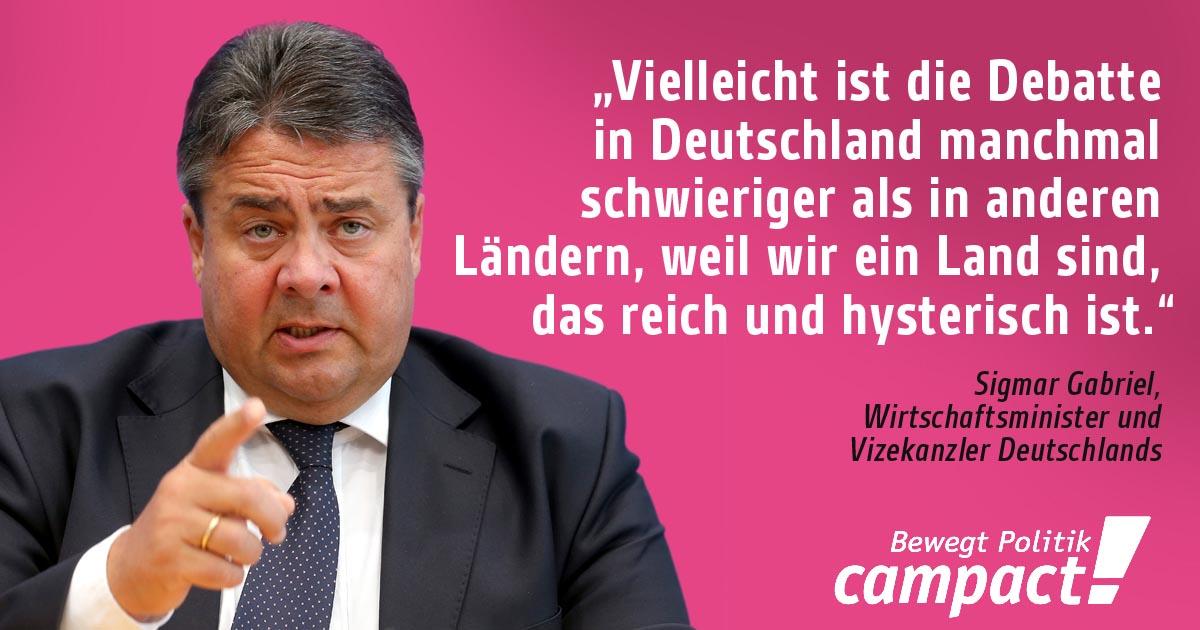 Sigmar Gabriel mit Zitat Deutschland sei