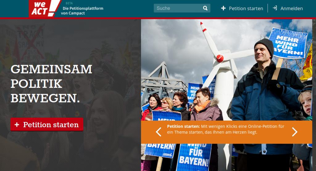 Screenshot der Website WeAct - einer Petitionsplattform zum Selbermachen von Campact