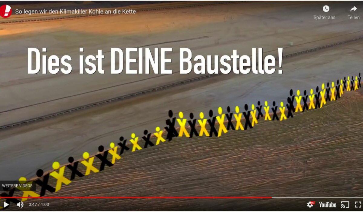 Screenshot Youtube - Campact: Menschenkette gegen den Klimakiller Kohle.