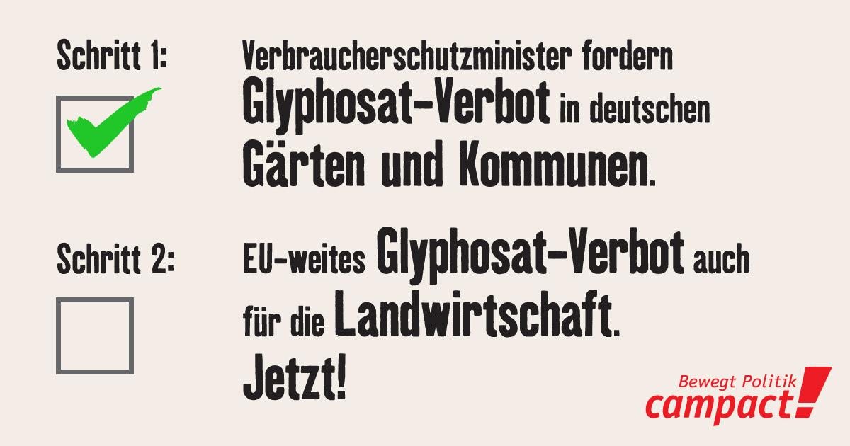 Erster Erfolg: Glyphosat in deutschen Gärten und Kommunen soll verboten werden. Grafik: Campact/Zitrusblau [CC BY-NC-SA 2.0 DE]