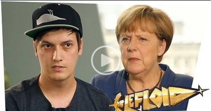 Screenshot: Interview Le Floid und Angela Merkel. Thema: Ehe für alle.