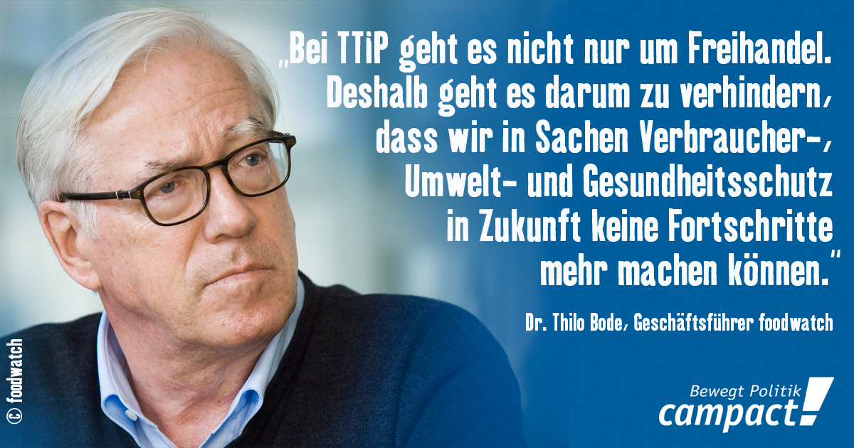 Thilo Bode - die Freihandelslüge. Grafik: Zitrusblau, Foto: foodwatch [CC BY-NC 2.0]