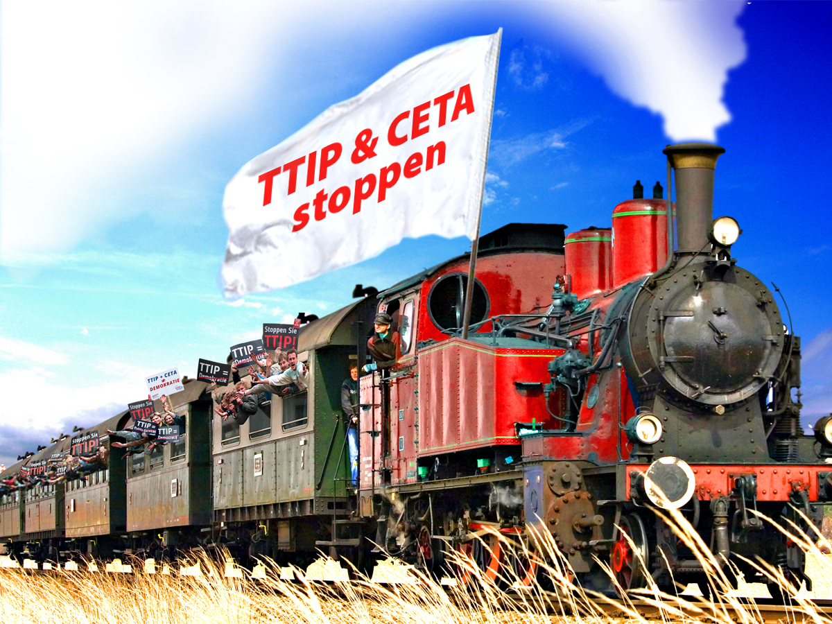 Sonderzüge zur TTIP-Demo am 10. Oktober 2015. Grafik: Campact/Zitrusblau [CC BY-NC 2.0]