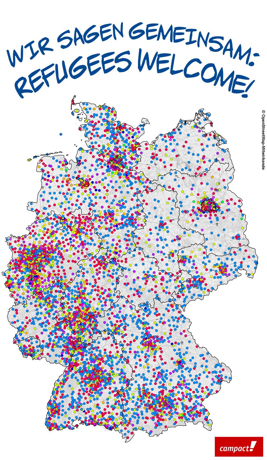 Tausende Bestellungen des Willkommenspakets. Map: Michael Wischniewski/ localplan. Grafik: Campact/Sascha Collet [CC BY-NC 2.0]