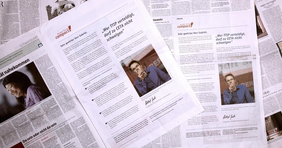 Christoph Bautz antwortet auf Sigmar Gabriels Anzeige pro TTIP in der Taz und Süddeutschen Zeitung