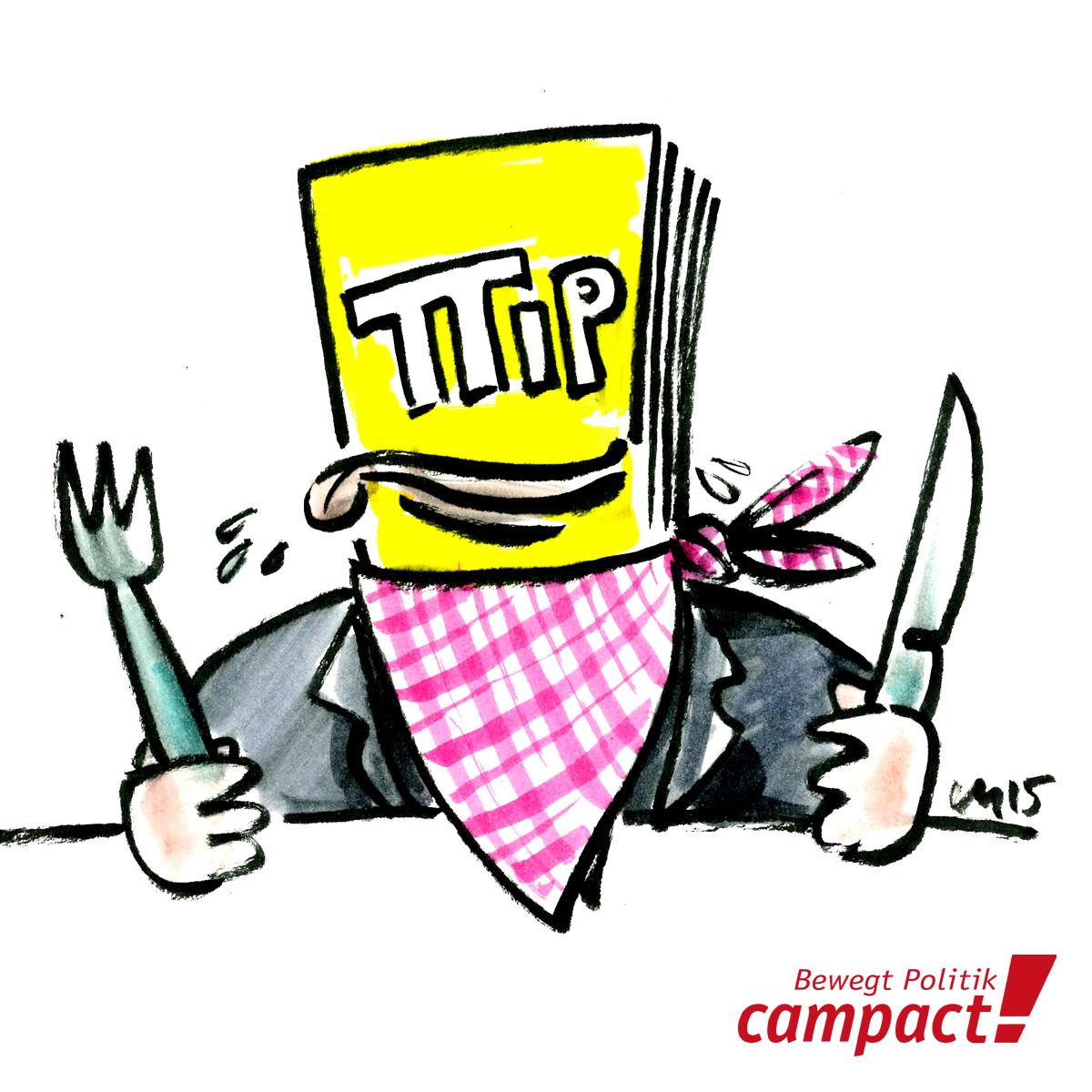 Karikatur: Campact/Zitrusblau, Martin Keune