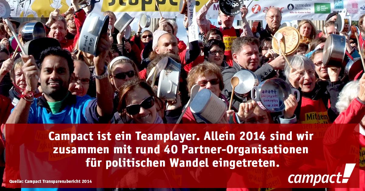 Campact ist ein Teamplayer. Alleine 2014 sind wir zusammen mit rund 40 Partner-Organisationen für politischen Wandel eingetreten. Grafik: Campact/Volker Schartner (CC BY-NC 2.0)