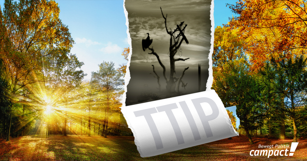 TTIP höhlt Umweltschutz aus. Grafik: Campact/Zitrusblau[CC BY-NC 2.0]