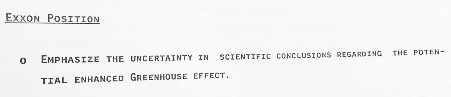 Ungewißheit betonen: Ausschnitt aus Exxon-PR-Strategie von 1988. Quelle: http://graphics.latimes.com/exxon-research/