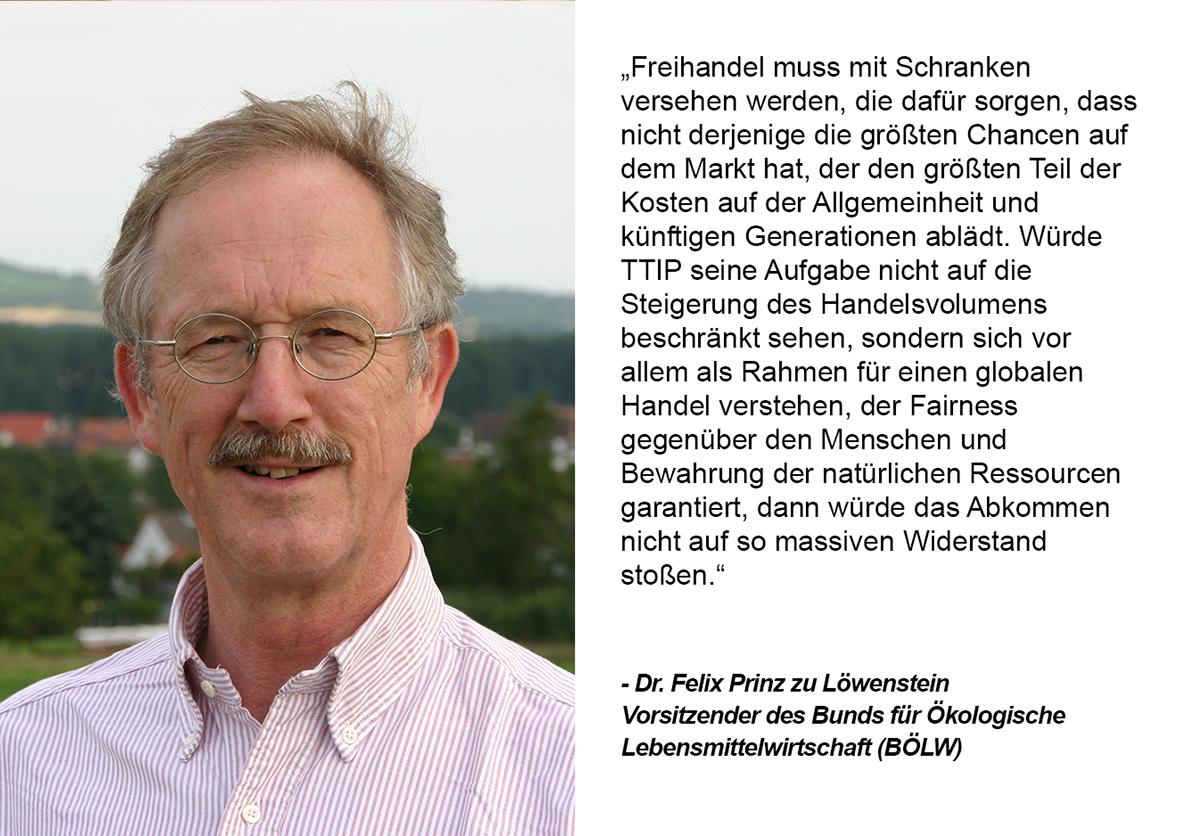 Zitat von Felix Prinz zu Loewenstein. Grafik und Copyright: UnternehmensGrün