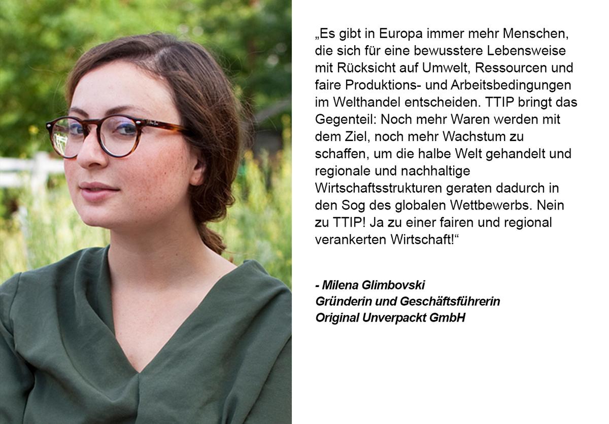 Zitat von Milena Glimbovski. Grafik und Copyright: UnternehmensGrün