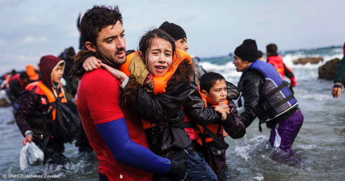 Geflüchtete erreichen die griechische Insel Lesbos. Foto und Copyright: UNHCR/Achilleas Zavallis