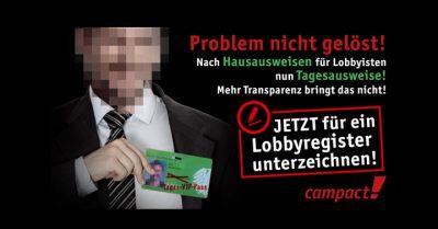 Lobbyregister für mehr Transparenz. Grafik: Zitrusblau/Campact