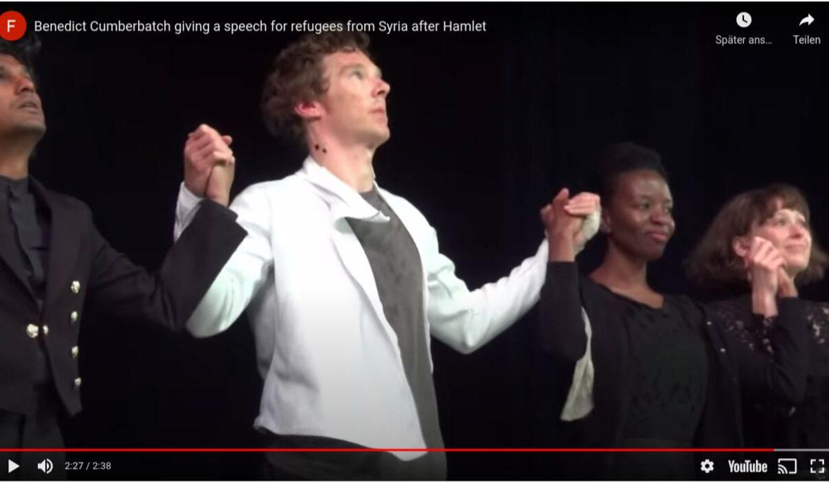 YouTube-Screenshot: Benedict Cumberbatch protestiert für Kinder.