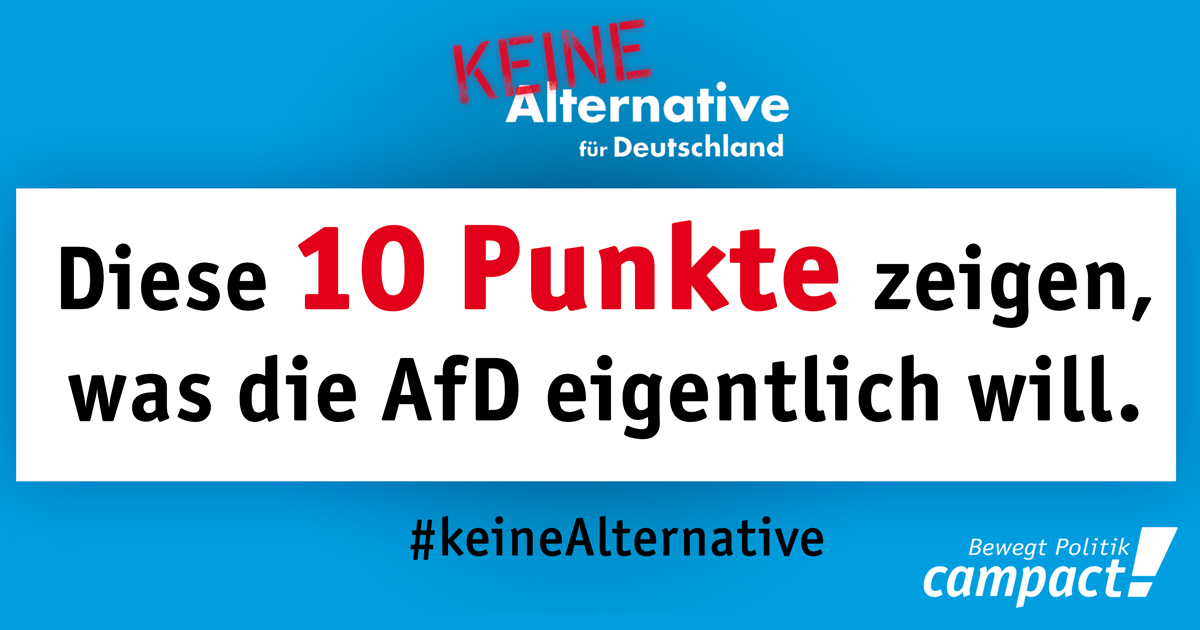 10 Punkte, die zeigen, was die AfD eigentlich will. Grafik: Sascha Collet/Campact