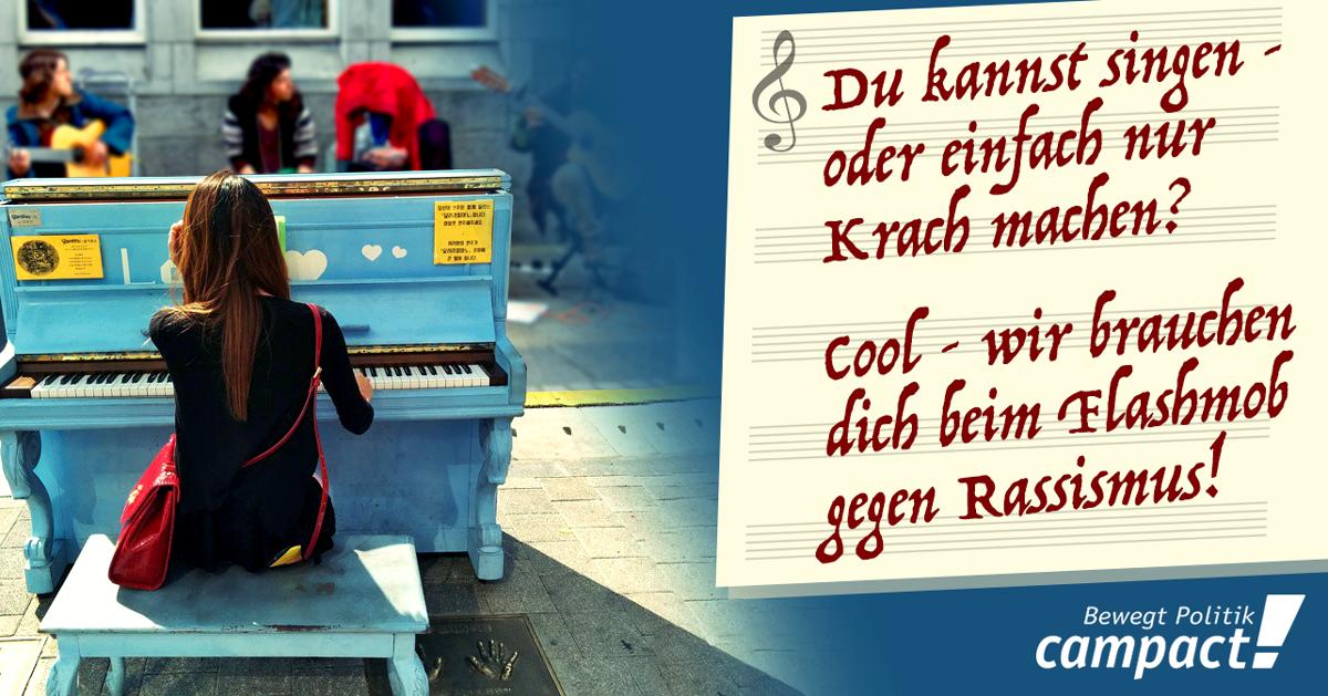 Musik-Flashmob gegen Rassismus in Mainz. Grafik: Sascha Collet/Campact