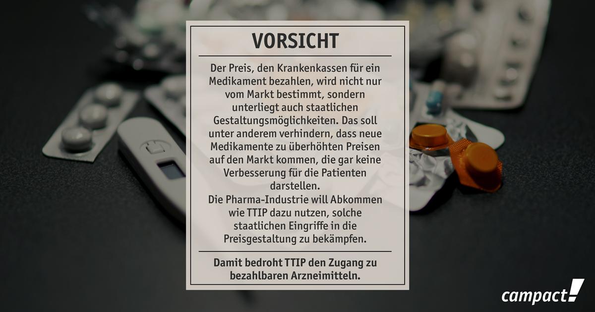 TTIP bedroht den Zugang zu bezahlbaren Medikamenten. Grafik: Sascha Collet/Campact