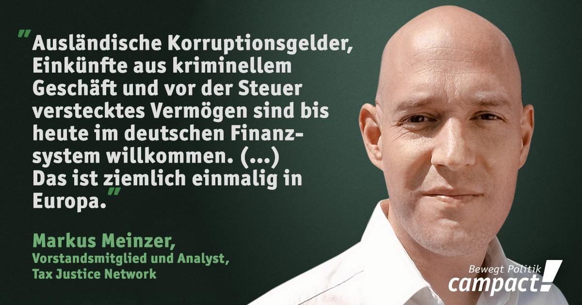 Panama Papers: Geldwäsche in Deutschland. Zitat von Markus Meinzer. Grafik: Sascha Collet/Campact