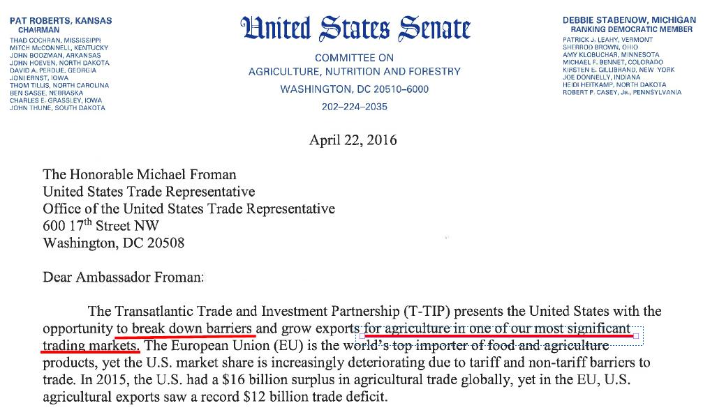 Brief von 22 US Senatoren zu Landwirtschaft in TTIP