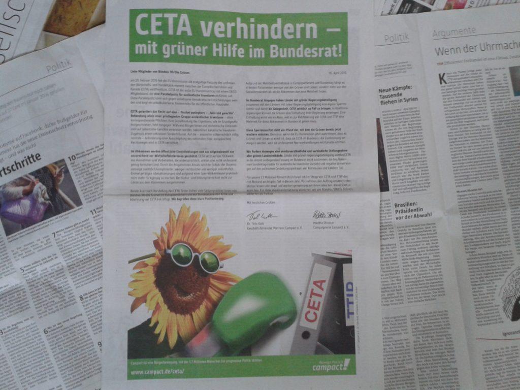 CETA Anzeige in der taz