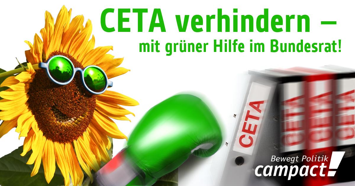 Ceta verhindern - mit grüner Hilfe. Anzeige in der taz. Grafik: Zitrusblau/Campact