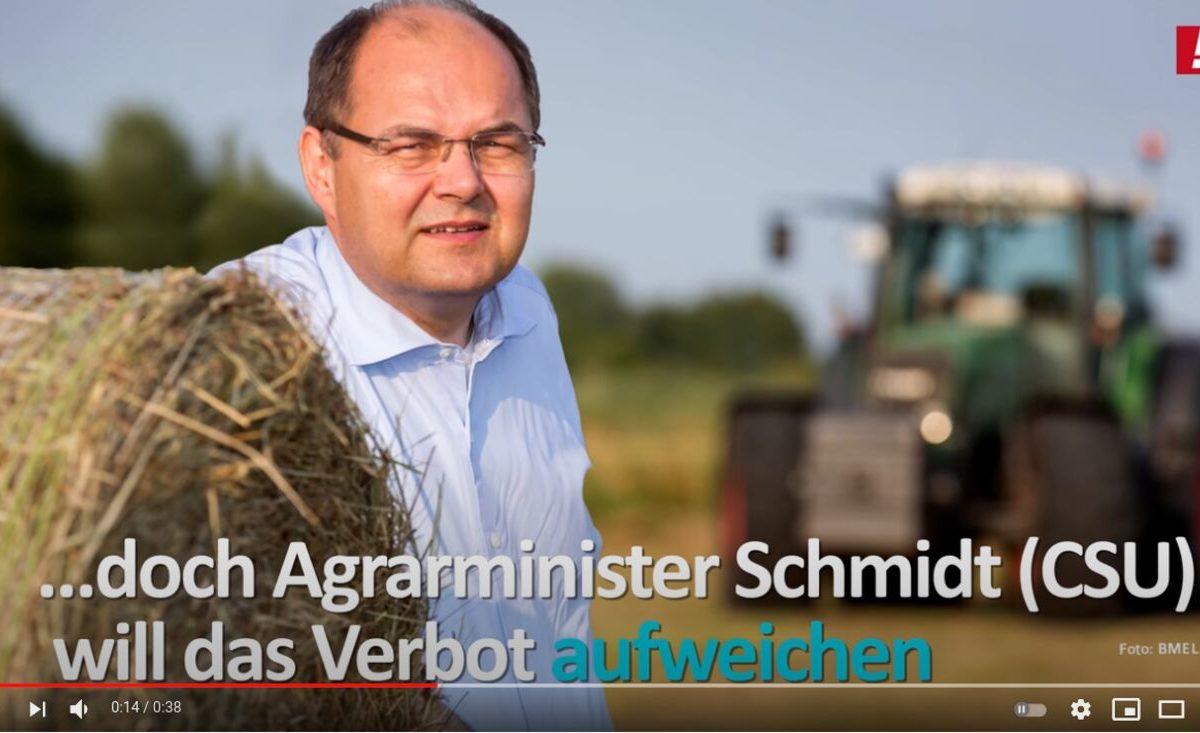 YouTube-Screenshot: Agrarminister Schmidt (CSU) will das Verbot für Bienenkiller aufweichen