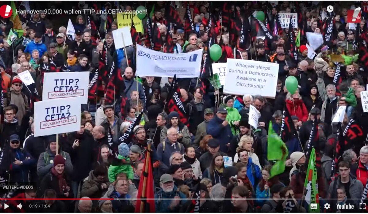 YouTube-Screenshot: 90.000 wollen TTIP und CETA in Hannover stoppen