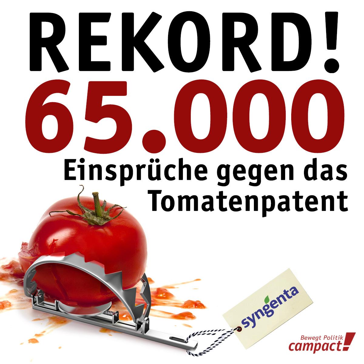 65.000 legen Einspruch gegen Tomatenpatent ein. Grafik: Zitrusblau/Sascha Collet/Campact [CC BY-ND 2.0]