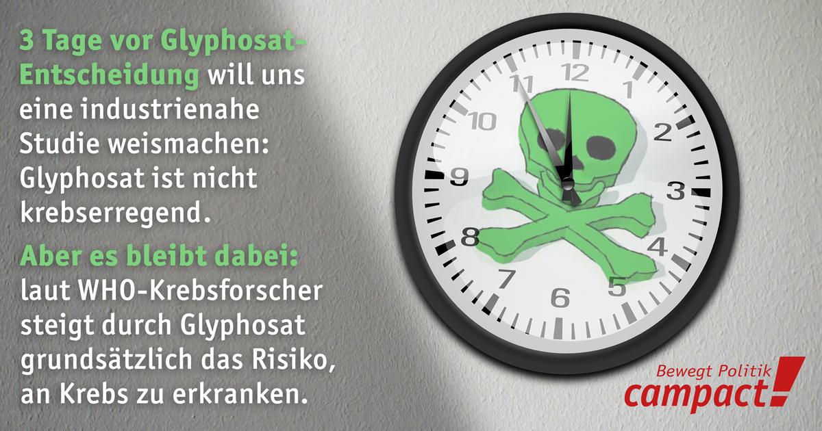 Glyphosat bleibt krebserregend. Grafik: Sascha Collet/Campact [CC BY-ND 2.0]