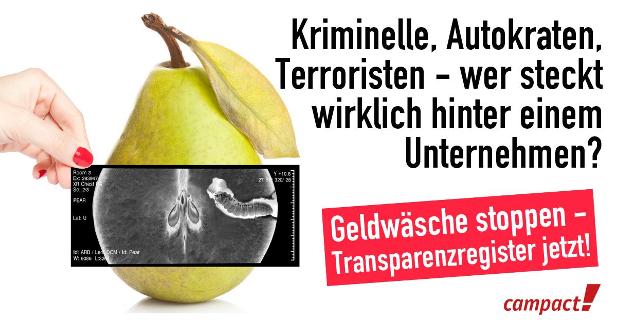 Geldwäsche stoppen - Transparenzregister jetzt! Grafik: Zitrsublau/Campact [CC BY-ND 2.0]