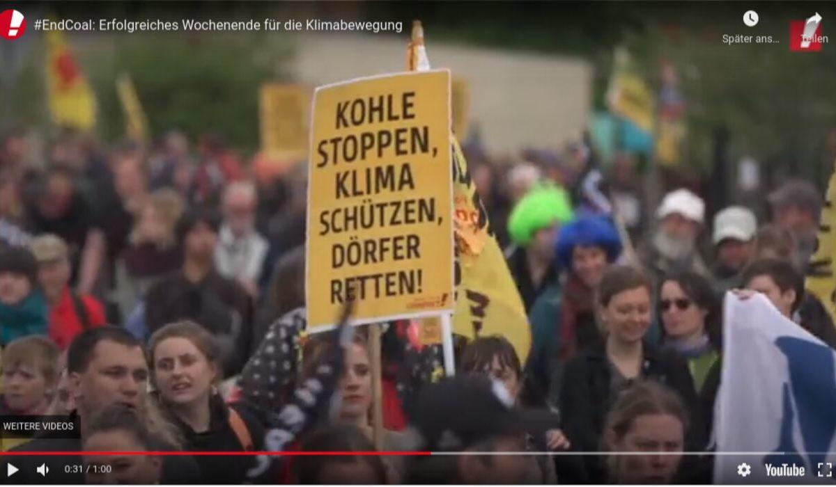 YouTube-Screenshot - End-Coal: Erfolgreiches Wochenende für die Klimabewegung