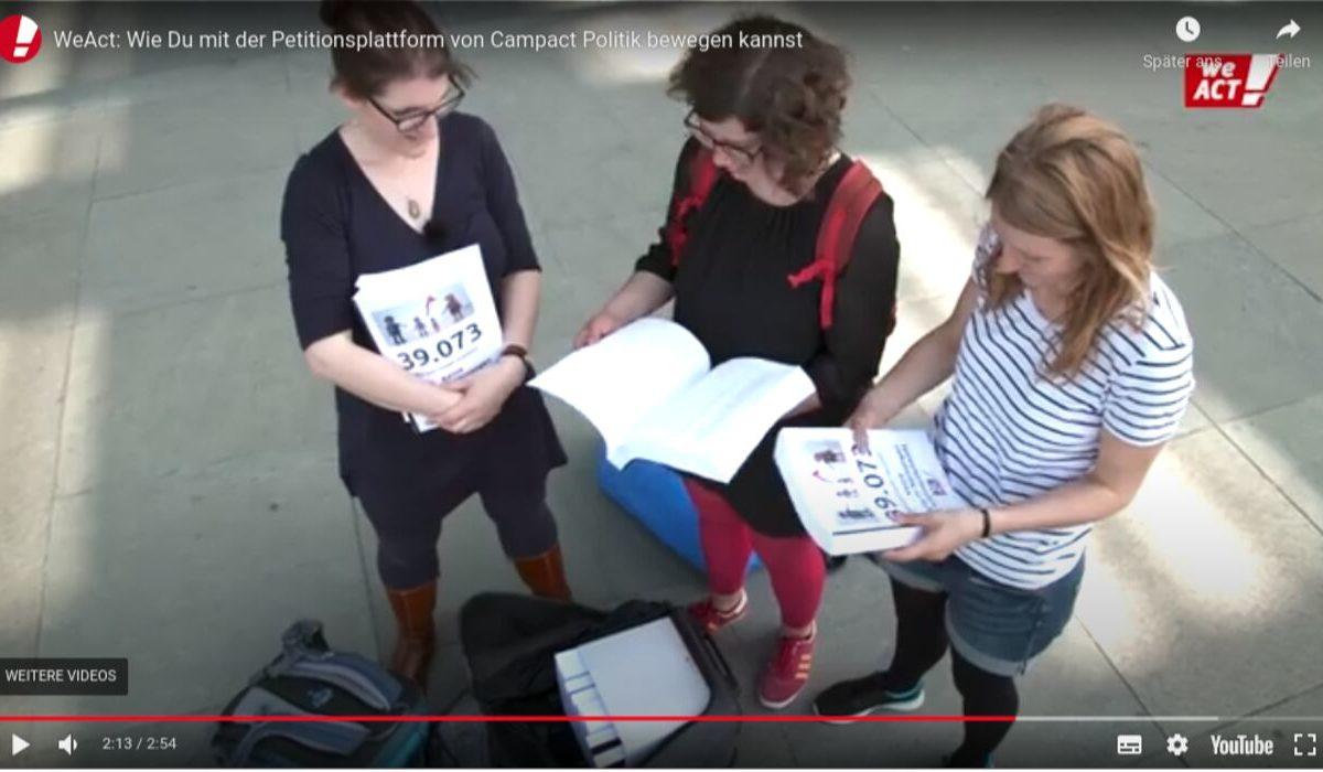 YouTube-Screenshot: WeAct Erfolg! Keine Hartz 4 Kürzungen für alleinerziehende Mütter.