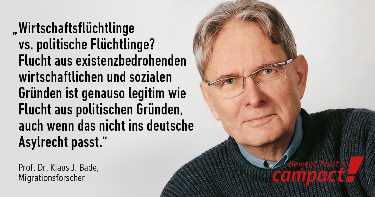Porträt von Prof. Dr. Klaus J. Bade, Migrationsexperte. Grafik: Zitrusblau/Campact [CC BY-ND 2.0]