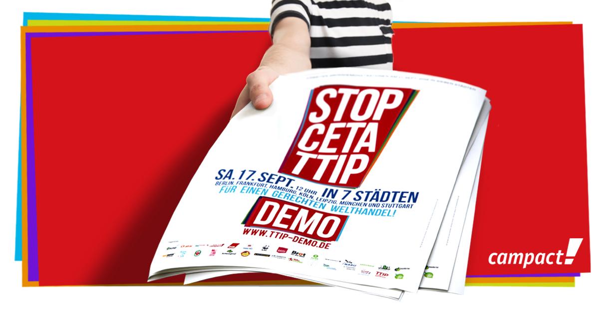 Plakate und Flyer für die 7 Demos am 17.9.2016 verteilen