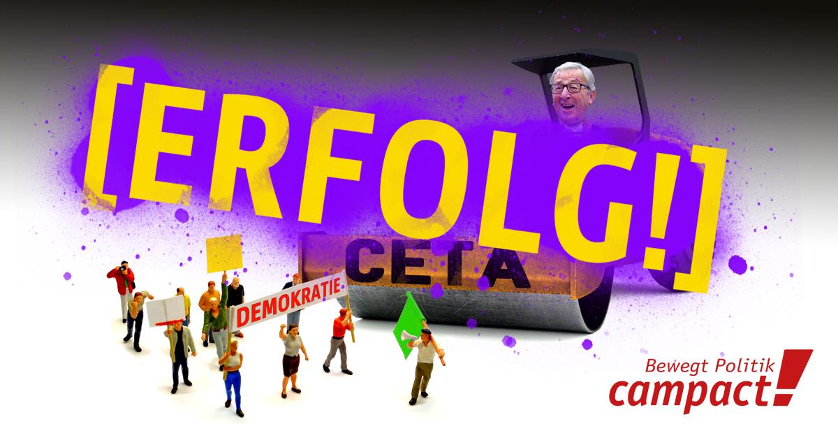 Die EU-Kommission entscheidet: CETA soll als gemischtes Abkommen gelten - und nationale Parlamente mitentscheiden. Grafik: Zirtusblau/Campact