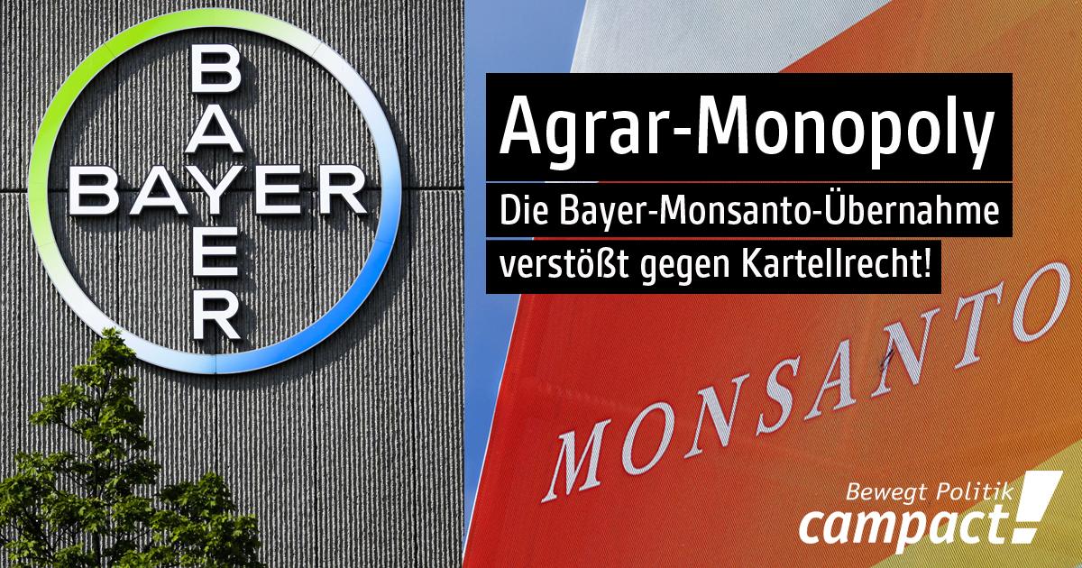 Warum die Bayer-Monsanto-Übernahme gegen US-Kartellrecht verstößt. Grafik: Zitrusblau/Campact
