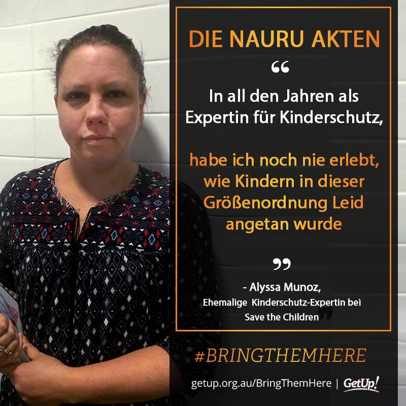 Eine Kinderschutz-Expertin erzählt von ihren Eindrücken aus dem Internierungslager auf der Insel Nauru. Grafik: Get Up