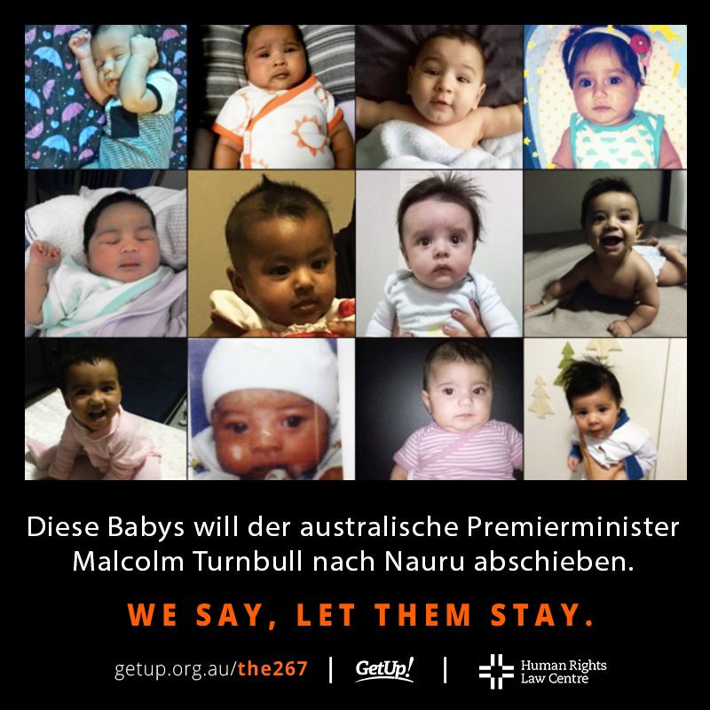 Kampagne für die Aufenthaltserlaubnis Neugeborrener und ihrer geflüchteten Familien. Grafik: Get Up