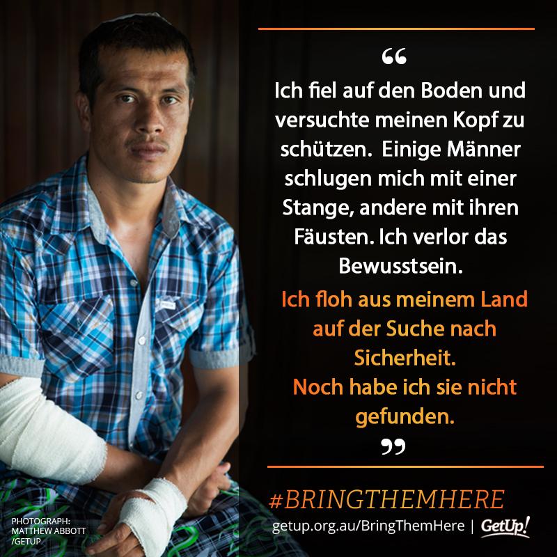 Ein Geflüchteter erzählt von seinen Erfahrungen im Interbierungslager auf Manus. Grafik: Get Up