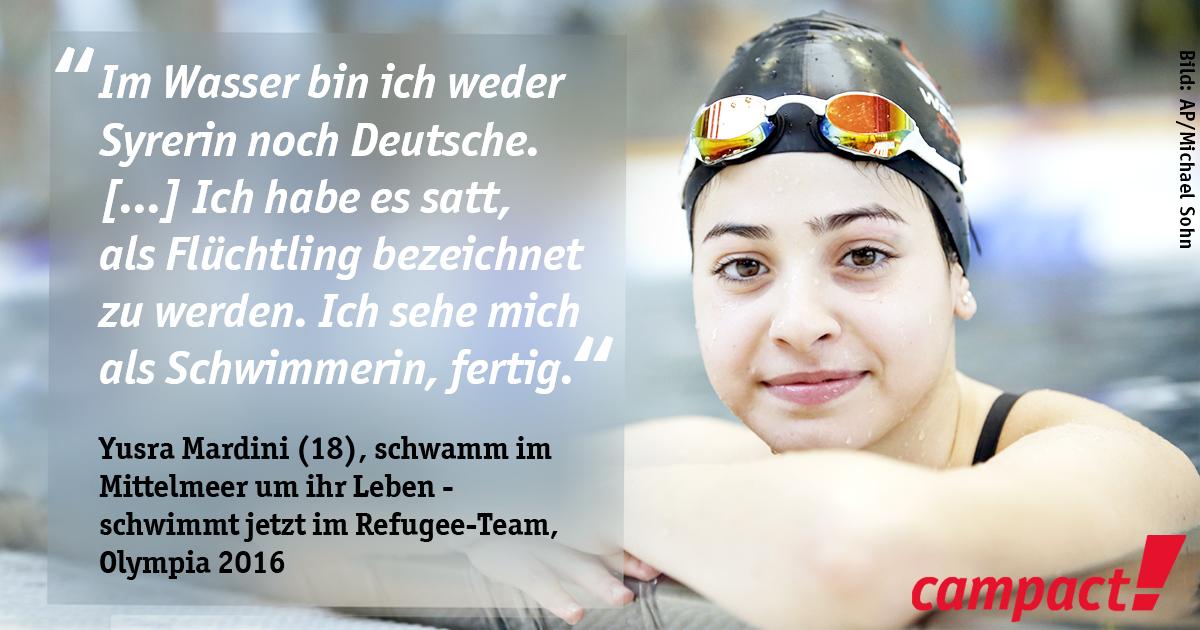 Yusra Mardini (18), schwamm im Mittelmeer um ihr Leben - schwimmt jetzt im Refugee-Team, Olympiade 2016. Grafik: Campact, Foto: Michael Sohn